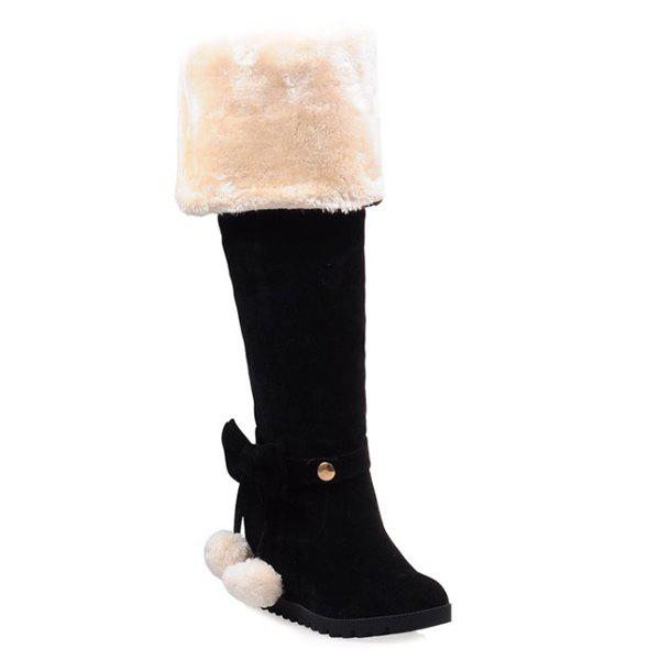 Pompons Hidden Wedge Bow Thigh Boots - BLACK 38