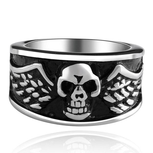 Engraved Skull Devil Wings RingJewelry<br><br><br>Size: 9<br>Color: SILVER