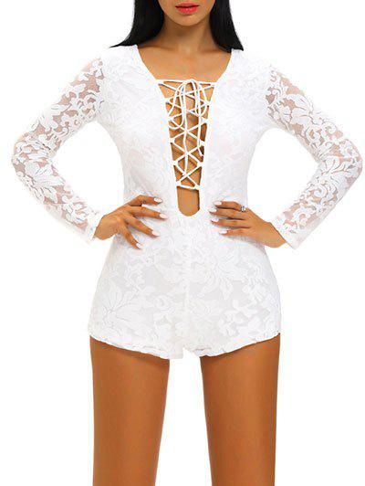 Plunge Neck Lace Up See Thru Romper от Dresslily.com INT