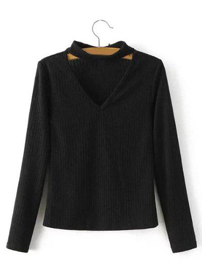 Keyhole Neck Pullover Ribbed Sweater
