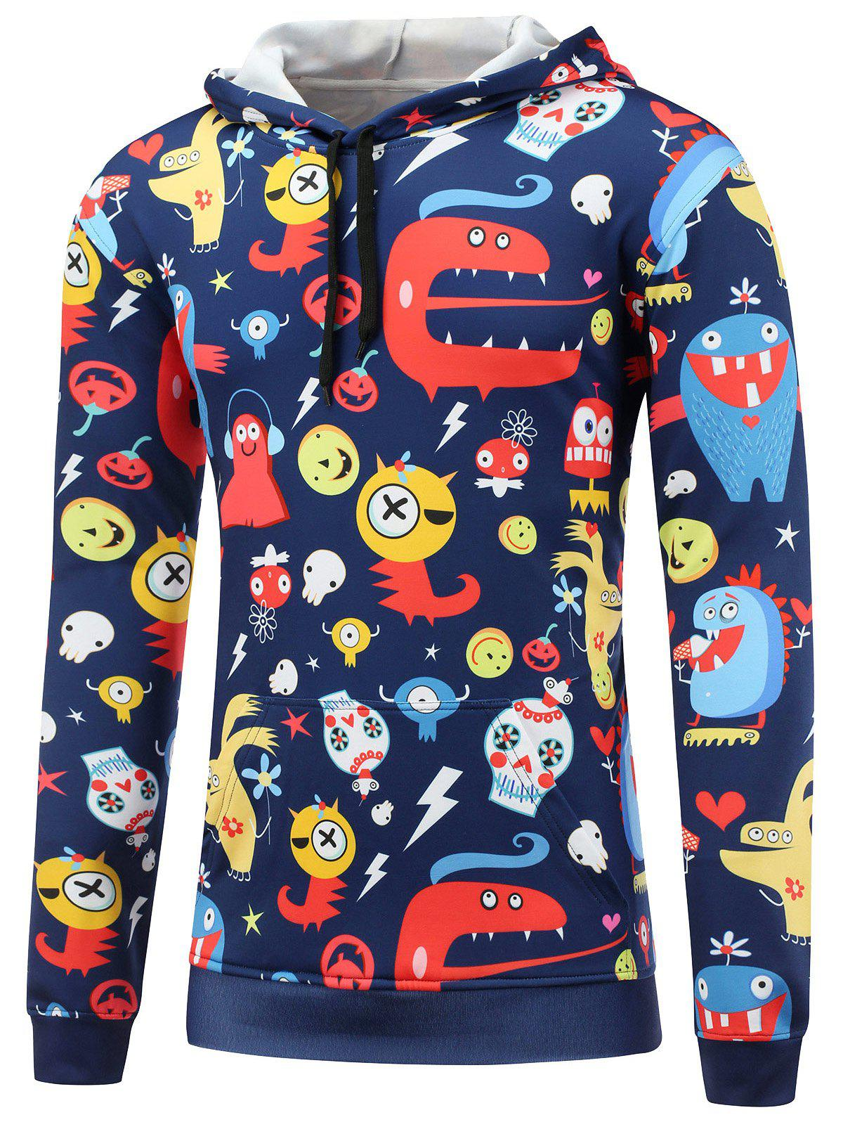 Pocket Front Cartoon Print Pullover Hoodie