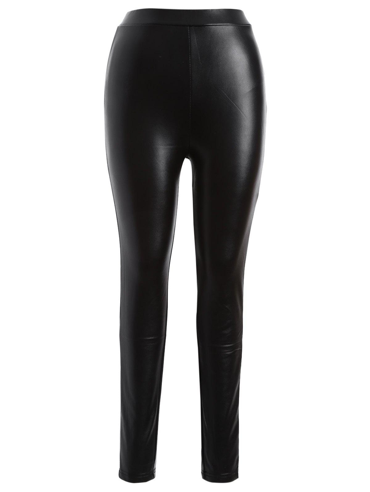 Plus Size PU Leather Bodycon Pants