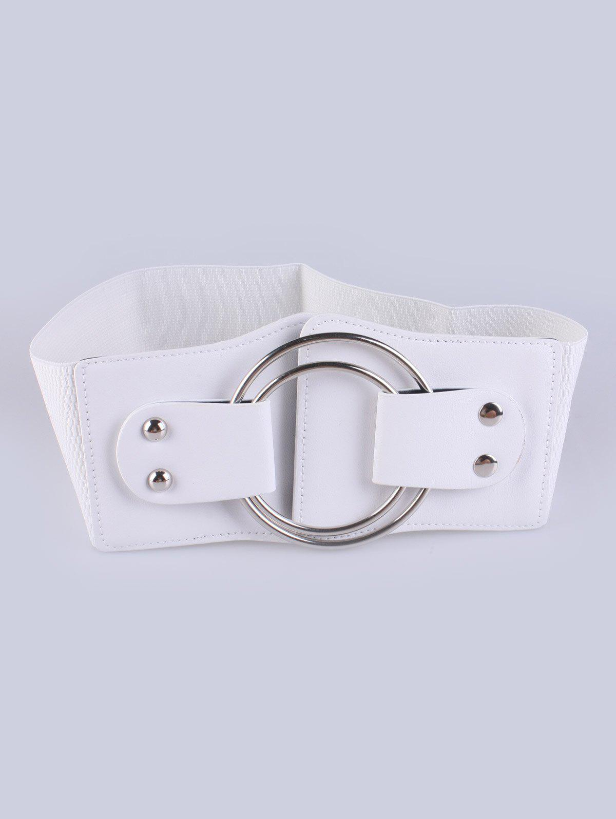 Coat Wear Faux Leather Circle Buckle Stretch BeltAccessories<br><br><br>Color: WHITE