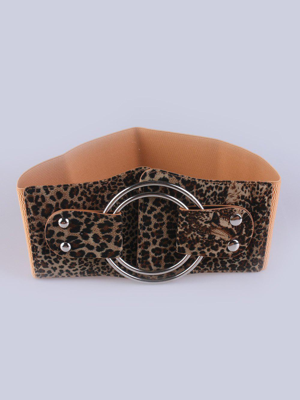 Faux Leather Stretch Belt with Metal Rings - LEOPARD