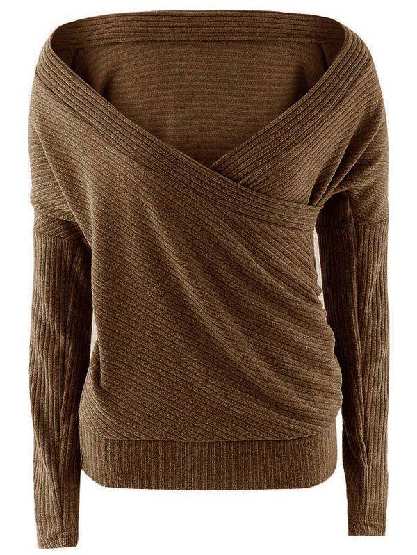 Plunge Neck Surplice Drop Shoulder Sweater - COFFEE S