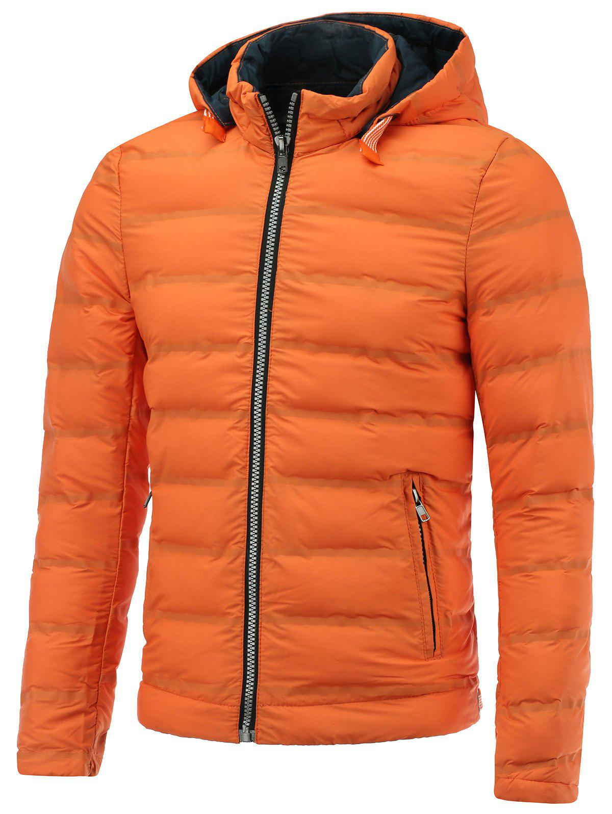 Zip Up Hooded Padded Jacket - ORANGE XL