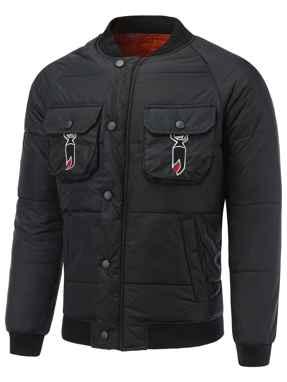 Snap Front Multi Pocket Embroidered Padded Jacket - BLACK XL