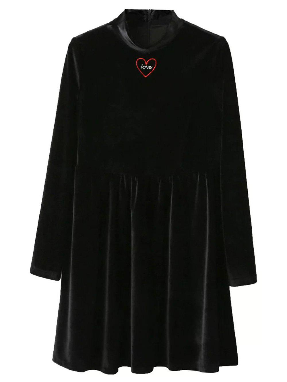 Velvet Mock Neck Swing DressWomen<br><br><br>Size: S<br>Color: BLACK