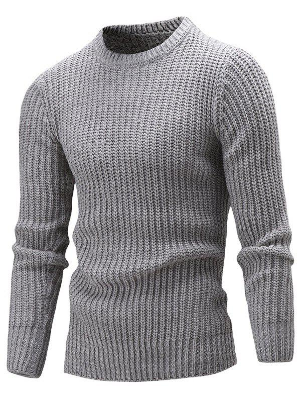 Crew Neck Ribbed Knitted Slim Fit Sweater slim fit crew neck plaid sweater