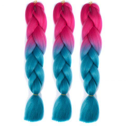 Heat Resistant Fiber 1 Pcs Multicolor Braided Hair Extensions - BLUE/RED