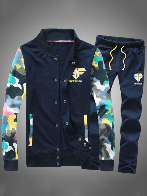 Button Up Camouflage Sleeve Jacket and Sweatpants Twinset - CADETBLUE 2XL