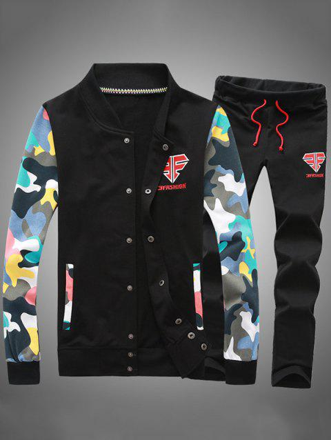 Button Up Camouflage Sleeve Jacket and Sweatpants Twinset - BLACK L