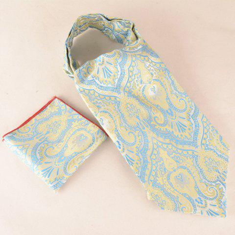 Jacquard Print Square Pocket Cravat Tie Set - YELLOW