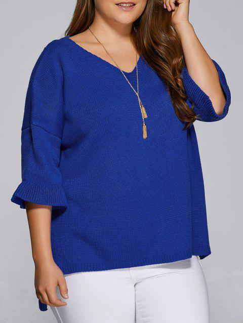 Flare Sleeves High Low Hem V Neck Sweater - BLUE 3XL