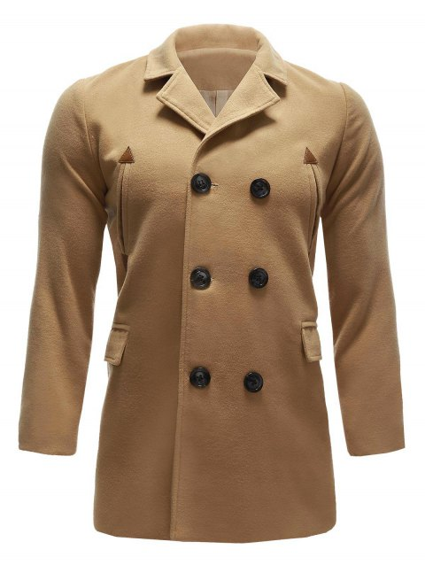 Pocket Wool Blend Back Vent Pea Coat - KHAKI L