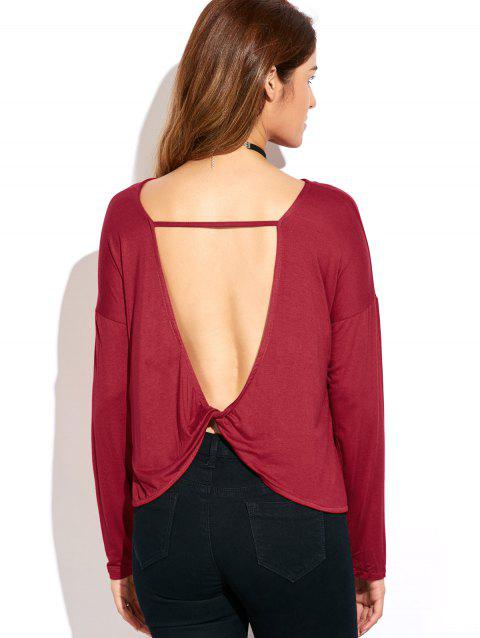 Twisted Open Back T-Shirt - RED S