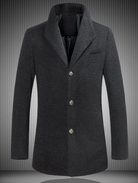 Single Breasted Stand Collar Woolen Coat - BLACK 5XL