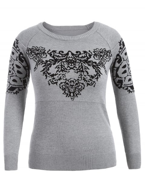 Plus Size Printed Sweater - GRAY 4XL