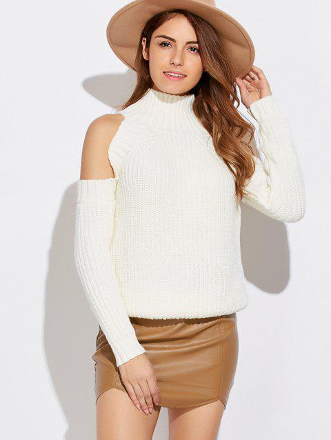 Funnel Neck Cold Shoulder Sweater - WHITE ONE SIZE