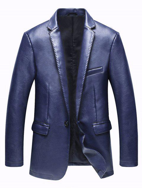 Faux Leather Pocket One Button Jacket - Bleu 3XL