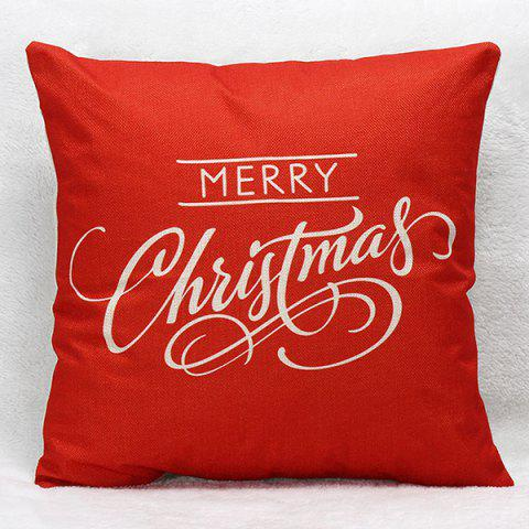 Merry Christmas Letters Sofa Pillow Case - RED