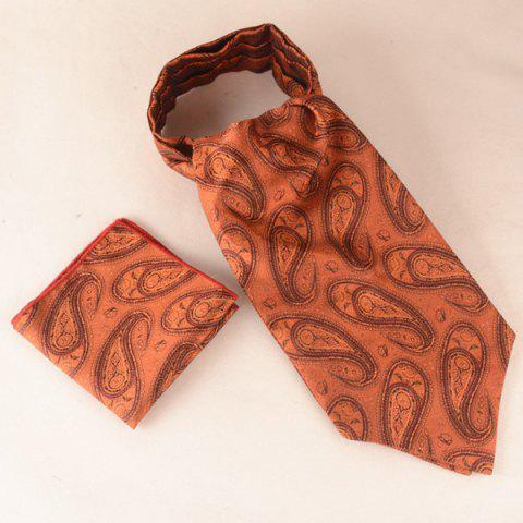Cashew Floral Pattern Square Pocket Cravat Tie Set - BROWN