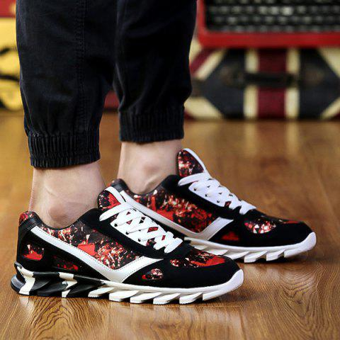 Tie Up Colour Spliced Print Athletic Shoes - RED/BLACK 44