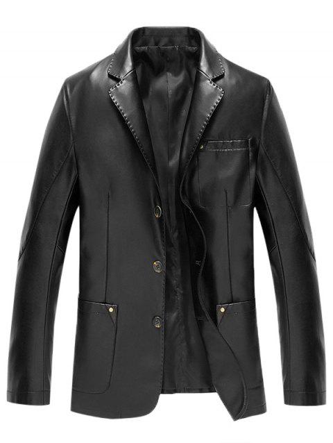 Button Up Lapel Pocket PU Leather Jacket - BLACK 2XL