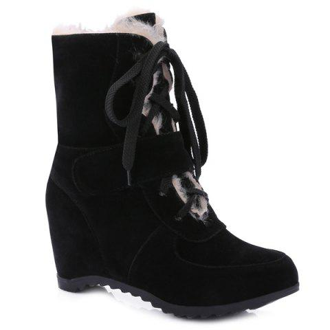 Suede Lace Up Mid Calf Boots - BLACK 37