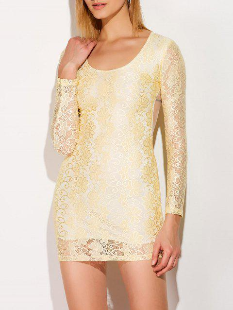 Mini Lace Sheer Long Sleeve Bodycon Dress - YELLOW M
