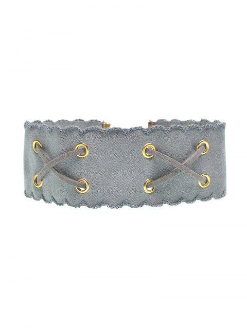 Faux Leather Velvet Choker - GRAY