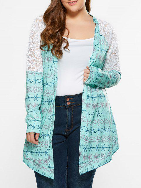Plus Size Lace Trim Tribal Cardigan - LIGHT GREEN XL