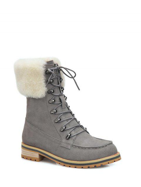 Metal Faux Fur Tie Up Short Boots - GRAY 38