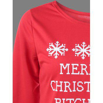 Plus Size Christmas Snowflake Print Sweatshirt - RED 3XL