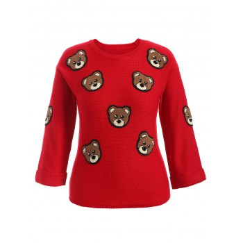 Bear Patched Plus Size Pullover Sweater