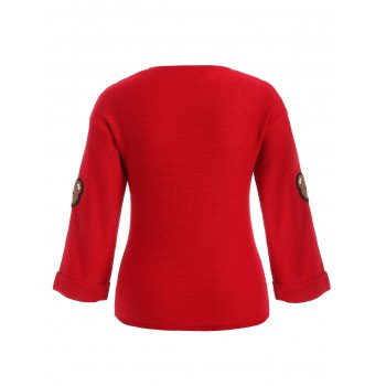 Bear Patched Plus Size Pullover Sweater - RED 2XL