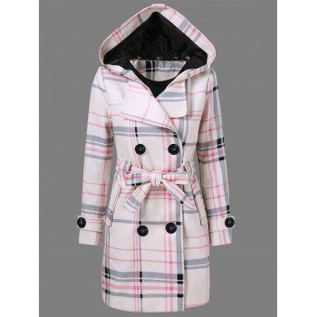 Tie Belt Hooded Plaid Woolen Coat