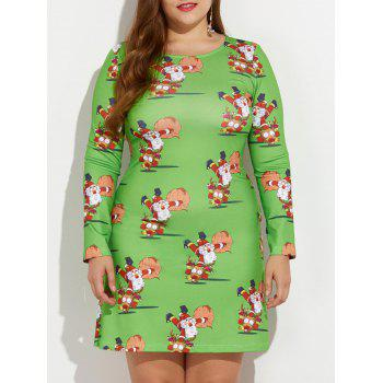 Christmas Plus Size Santa and Reindeer Print Dress