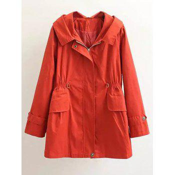 Plus Size Letter Embroidery Hooded Trench Coat