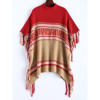 Buy Asymmetrical Fringe Poncho Sweater RED