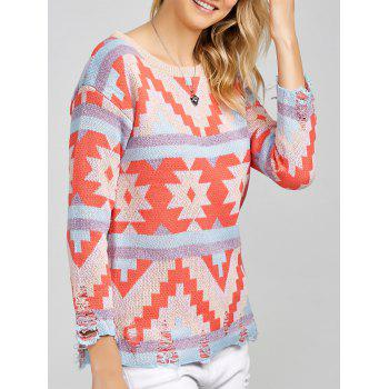 Colorful Geometrical Pullover Sweater