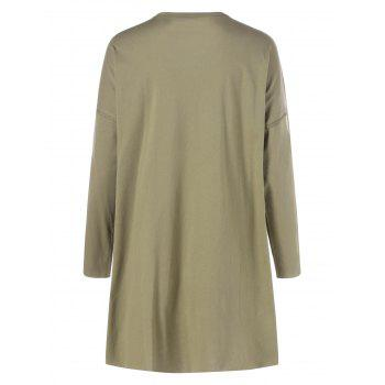 Long Sleeve Plus Size Split T Shirt - ARMY GREEN 5XL