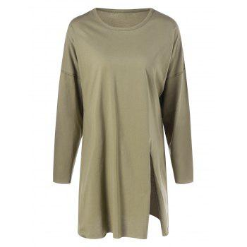 Long Sleeve Plus Size Split T Shirt - ARMY GREEN ARMY GREEN