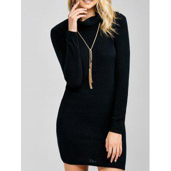 Cowl Neck Ribbed Bodycon Dress