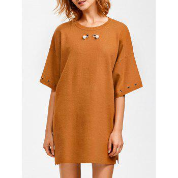 Crew Neck Straight Slouchy Jumper Dress