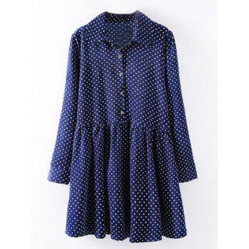 Plus Size Polka Dot Print Shirt Dress - DEEP BLUE 2XL