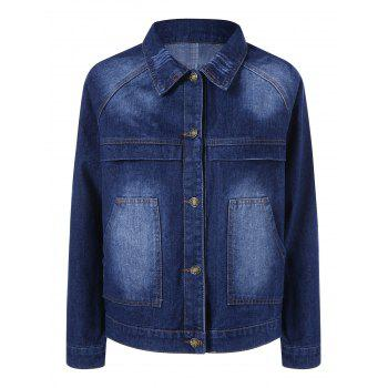Plus Size Double Pocket Denim Jacket