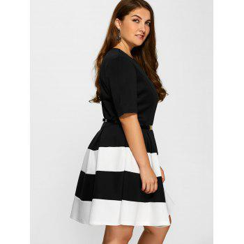 Plus Size Belted Striped Pleated Skater Dress - WHITE WHITE