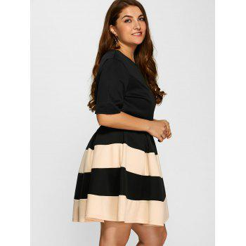 Plus Size Belted Striped Pleated Skater Dress - APRICOT 3XL