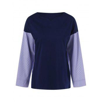 Buy Plus Size V Neck Color Block Blouse PURPLISH BLUE